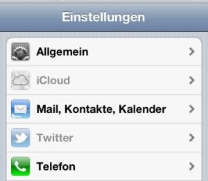 iCloud und Twitter deaktiviert