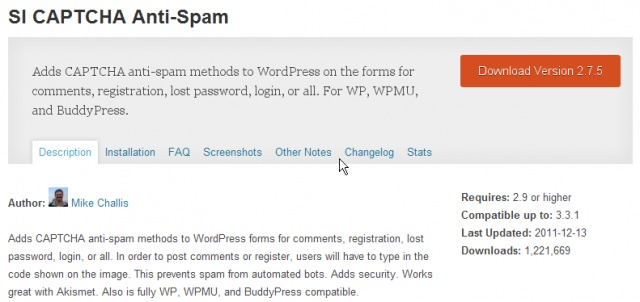 SI CAPTCHA Antispam WordPress Plugin