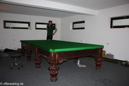 Snookertisch Aufbau Tischtuch