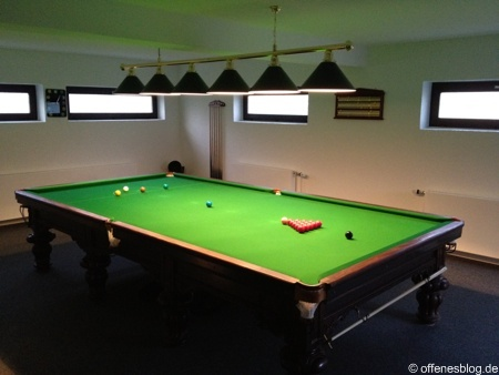Snookertisch Aufbau 12ft Burroughes and Watts