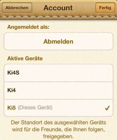 Freunde App aktive Geräte