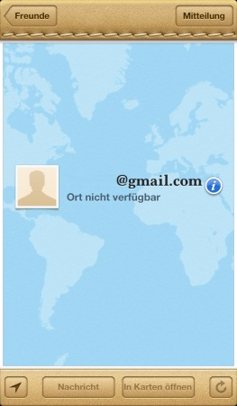 Freunde App: Ort nicht verfügbar
