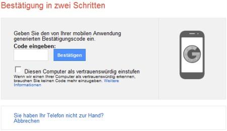Gmail in zwei Schritten