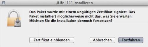 iLife 11 Zertifikat Problem