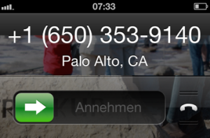 Google Anruf aus Palo Alto