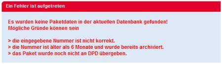 DPD - Ein Fehler ist aufgetreten