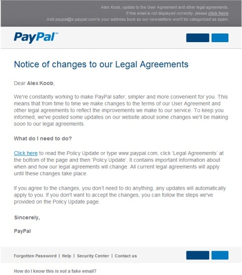 PayPal Phising Mail