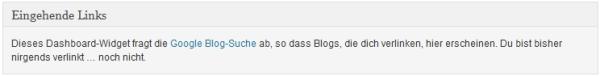 WordPress Dashboard Google Blog-Suche