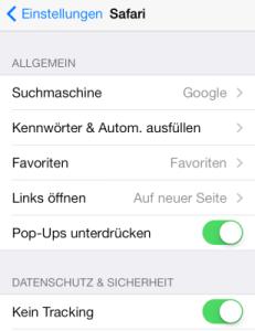 iOS 7 iPhone Datenschutz im Safari