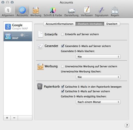 Apple Mail Problemlösung Mail in Gesendet und Entwürfe