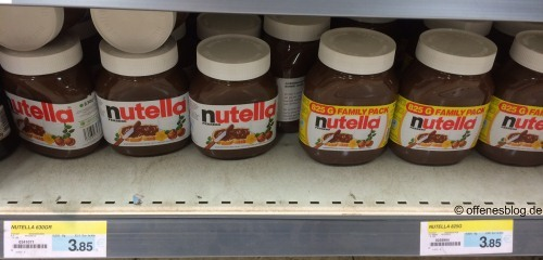 Nutella 630g und 825g