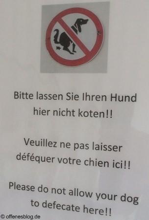 Bitte lassen Sie Ihren Hund hier nicht koten!!
