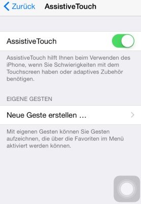Apple Assistive Touch Button Bildschirm