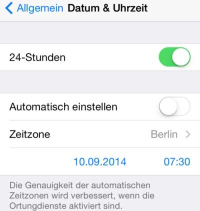 iPhone Datum & Uhrzeit Zeitzone