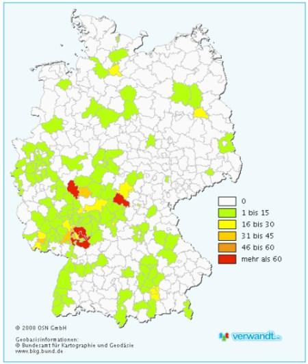 verwandt.de Verteilung Deutschlandkarte