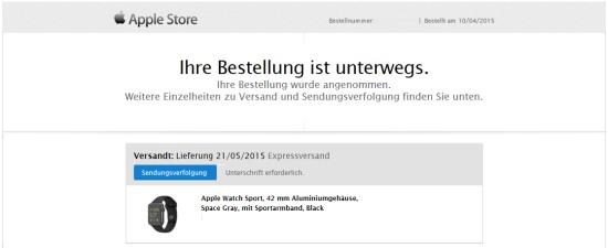 Apple Watch Bestellung unterwegs