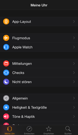 iPhone Apple Watch App Menü
