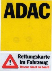 ADAC Rettungskarte Aufkleber