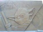Yoda und Chewbacca Sandskulpturen