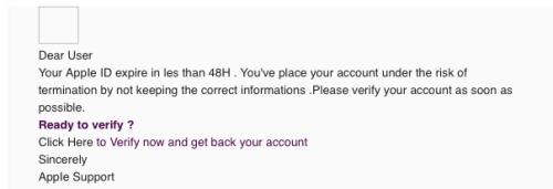 Englische Apple Spam/Phishing Mail