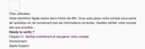 Französische Apple Spam/Phishing Mail