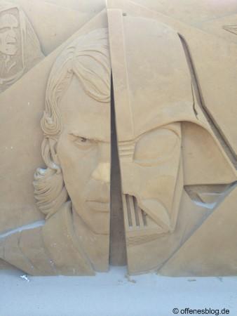 Sandskulpturen Anakin und Darth Vader