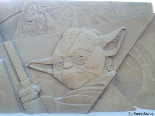 Sandskulpturen Yoda und Chewbacca