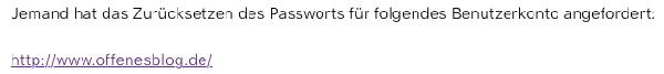 WordPress Passwort angefordert
