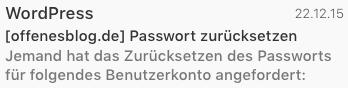 WordPress Passwort zurücksetzen Mail