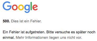 Google 500 Fehler
