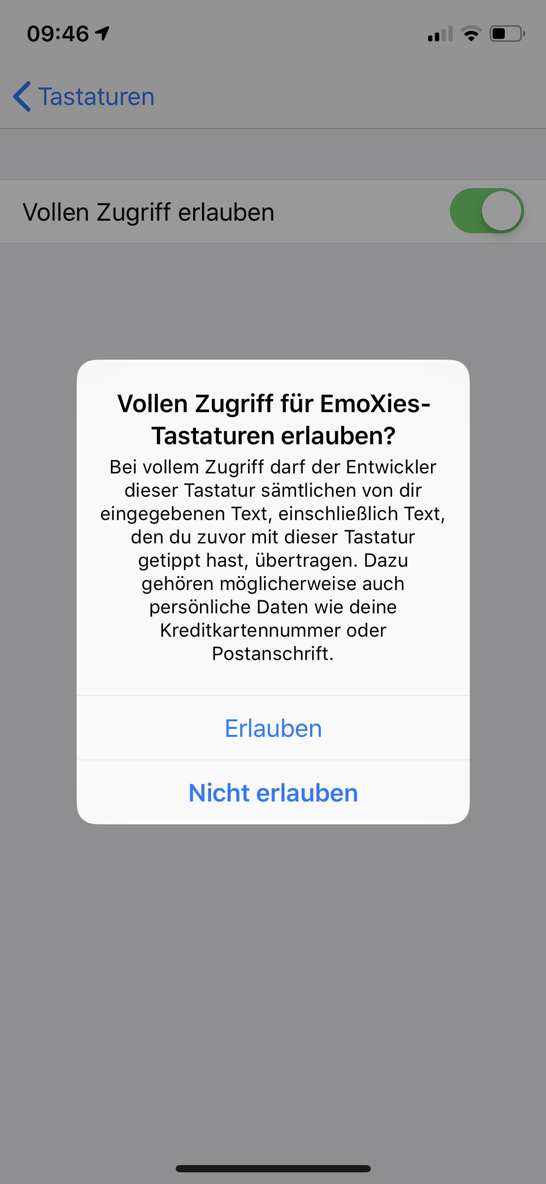 App vollen Zugriff erlauben