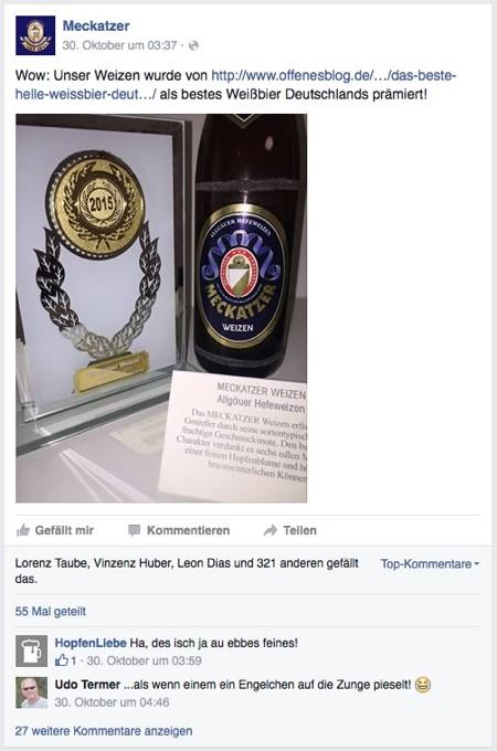 Meckatzer Facebook offenesblog.de Gold Prämierung